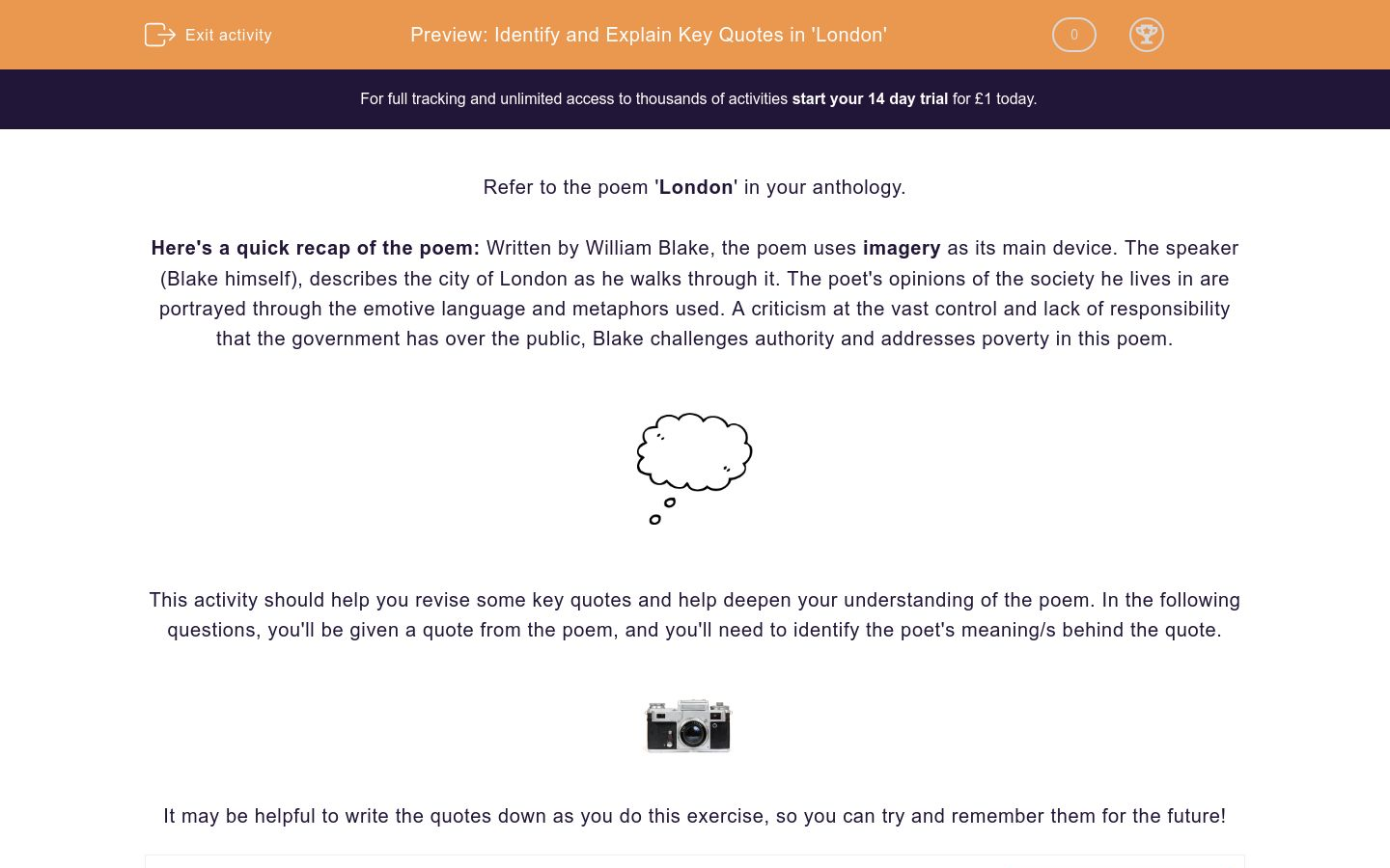 'Identify and Explain Key Quotes in 'London'' worksheet