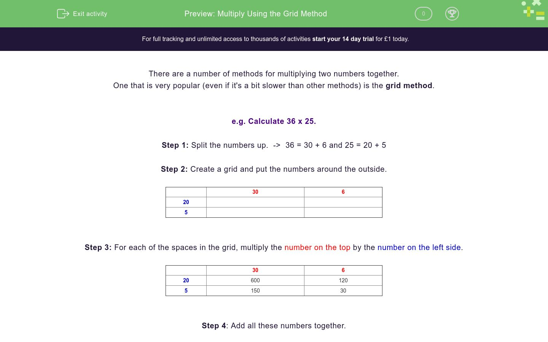 'Multiply Using the Grid Method' worksheet