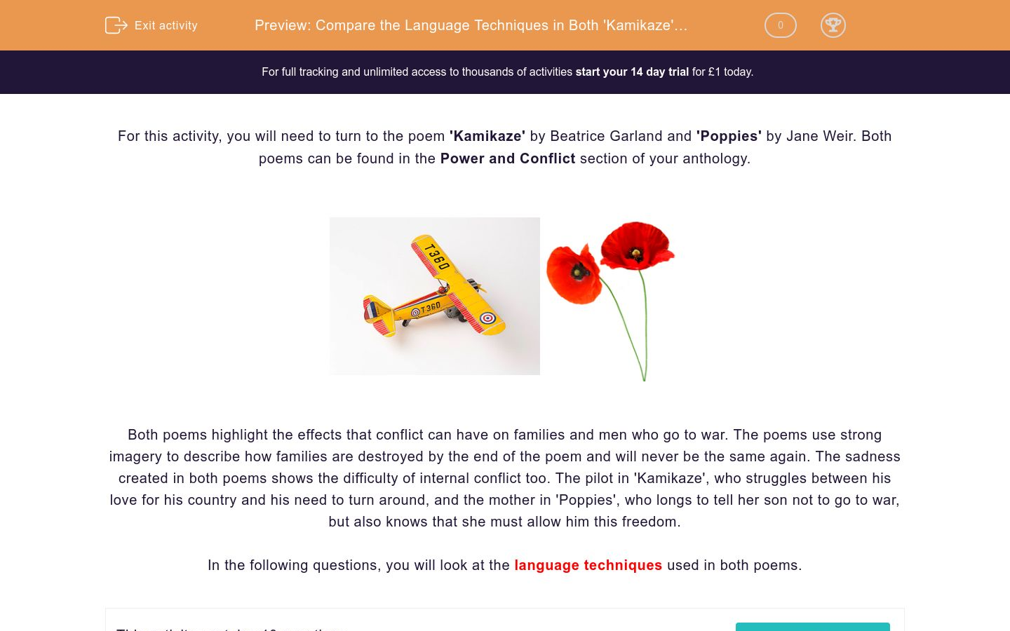 'Compare the Language Techniques in Both 'Kamikaze' and 'Poppies' and Analyse the Effect' worksheet