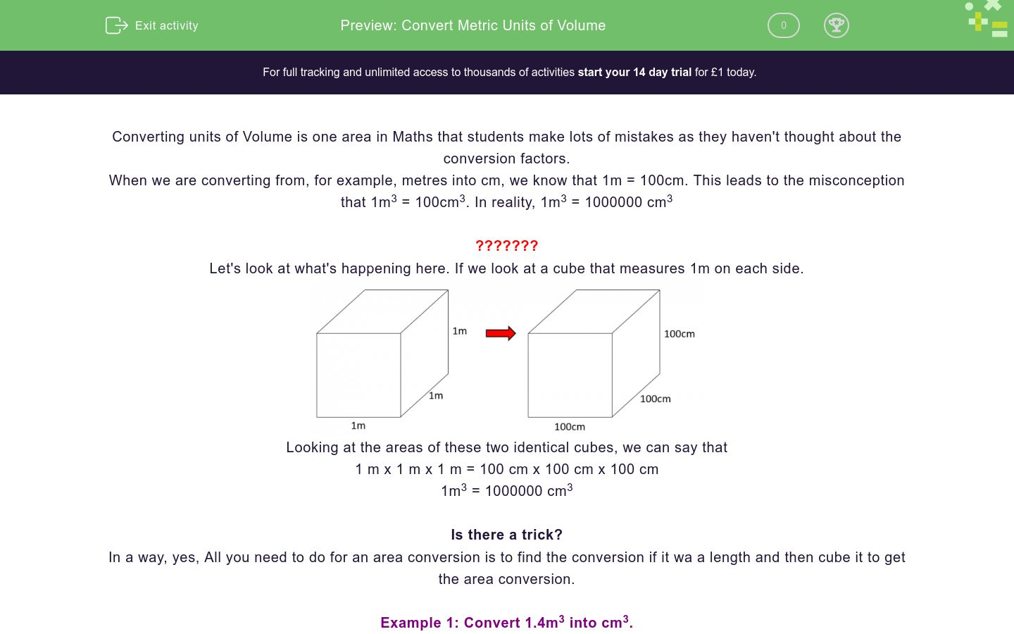 'Convert Metric Units of Volume' worksheet