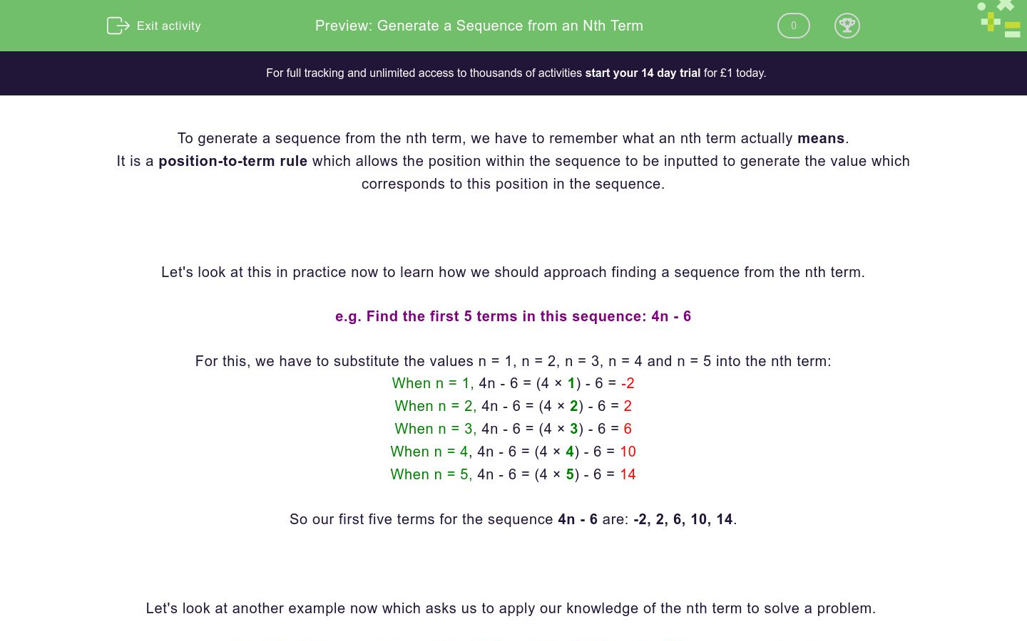 'Generate a Sequence from an Nth Term' worksheet