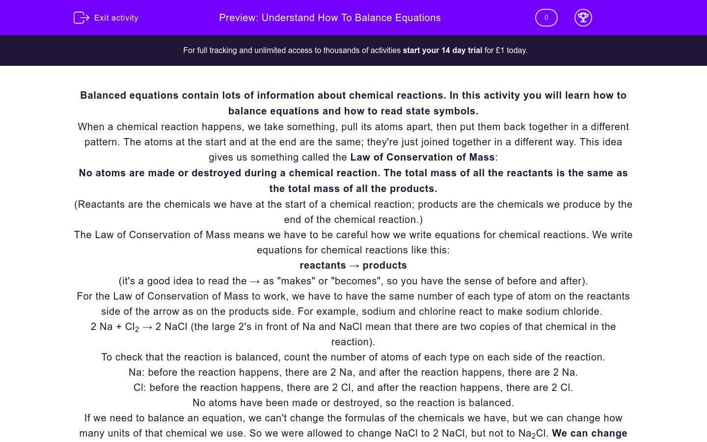 'Understand How To Balance Equations' worksheet
