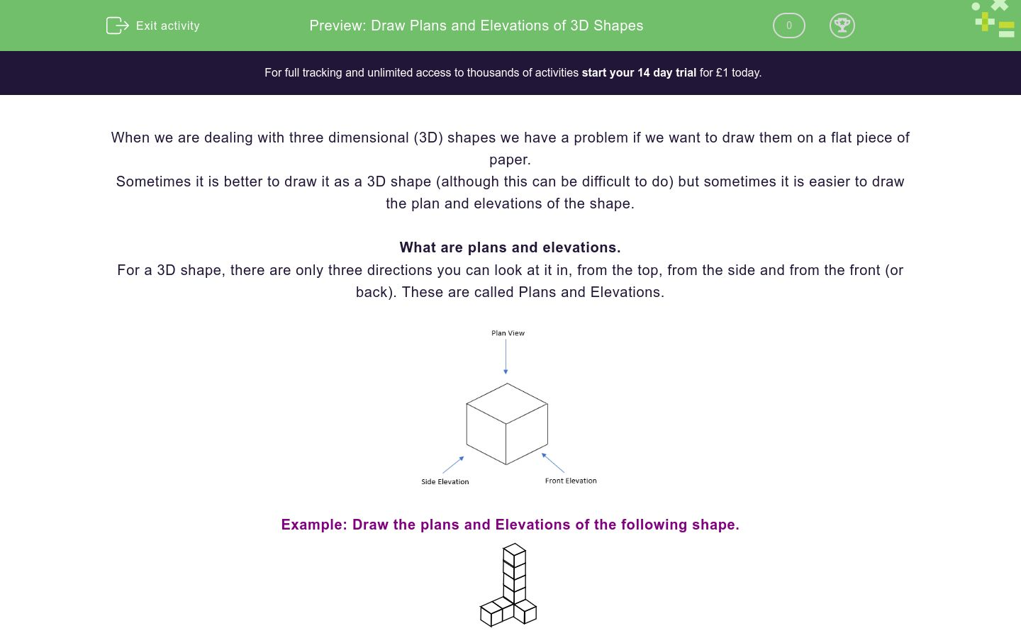 'Draw Plans and Elevations of 3D Shapes' worksheet