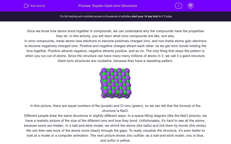 'Explain Giant Ionic Structures' worksheet
