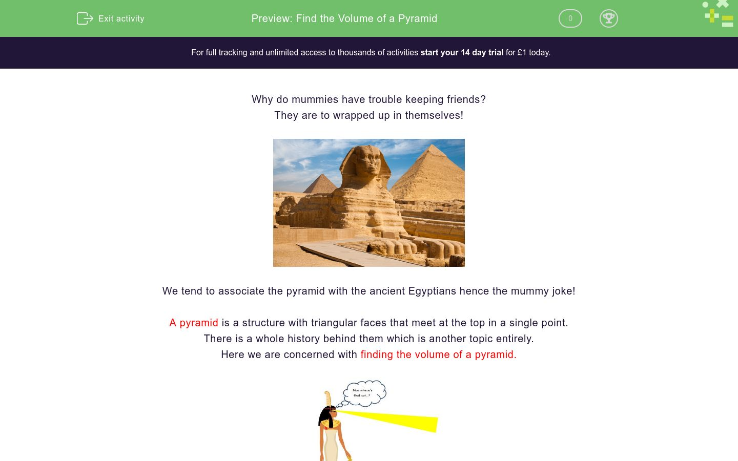 'Find the Volume of a Pyramid' worksheet