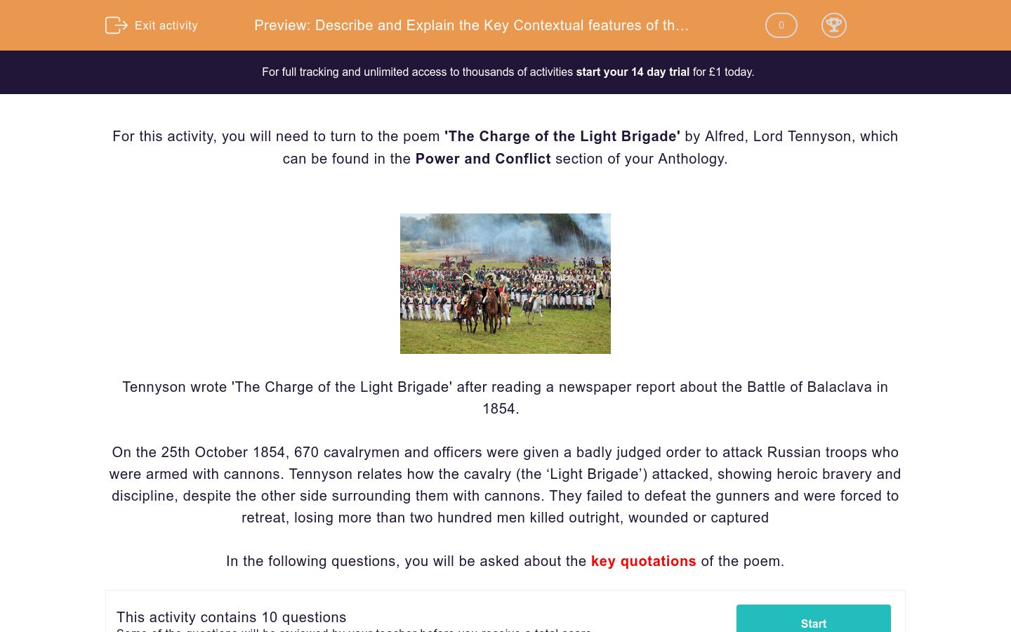 'Describe and Explain the Key Contextual features of the Poem 'The Charge of the Light Brigade' ' worksheet