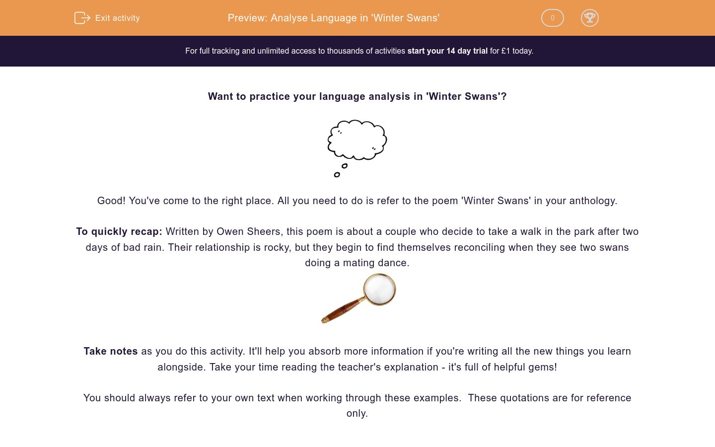 'Analyse Language in 'Winter Swans'' worksheet