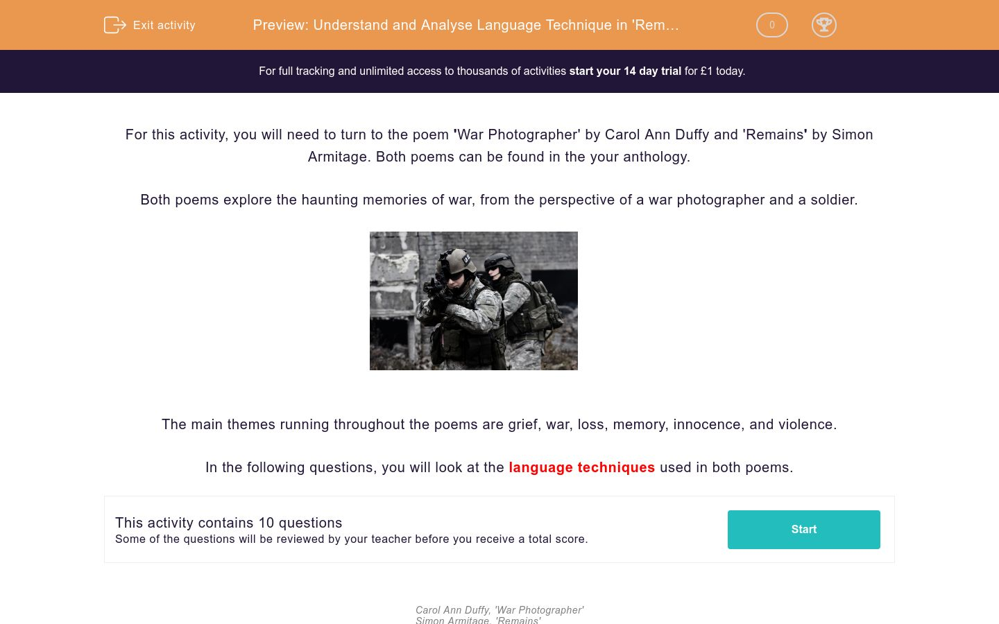 'Understand and Analyse Language Technique in 'Remains' and 'War Photographer'' worksheet