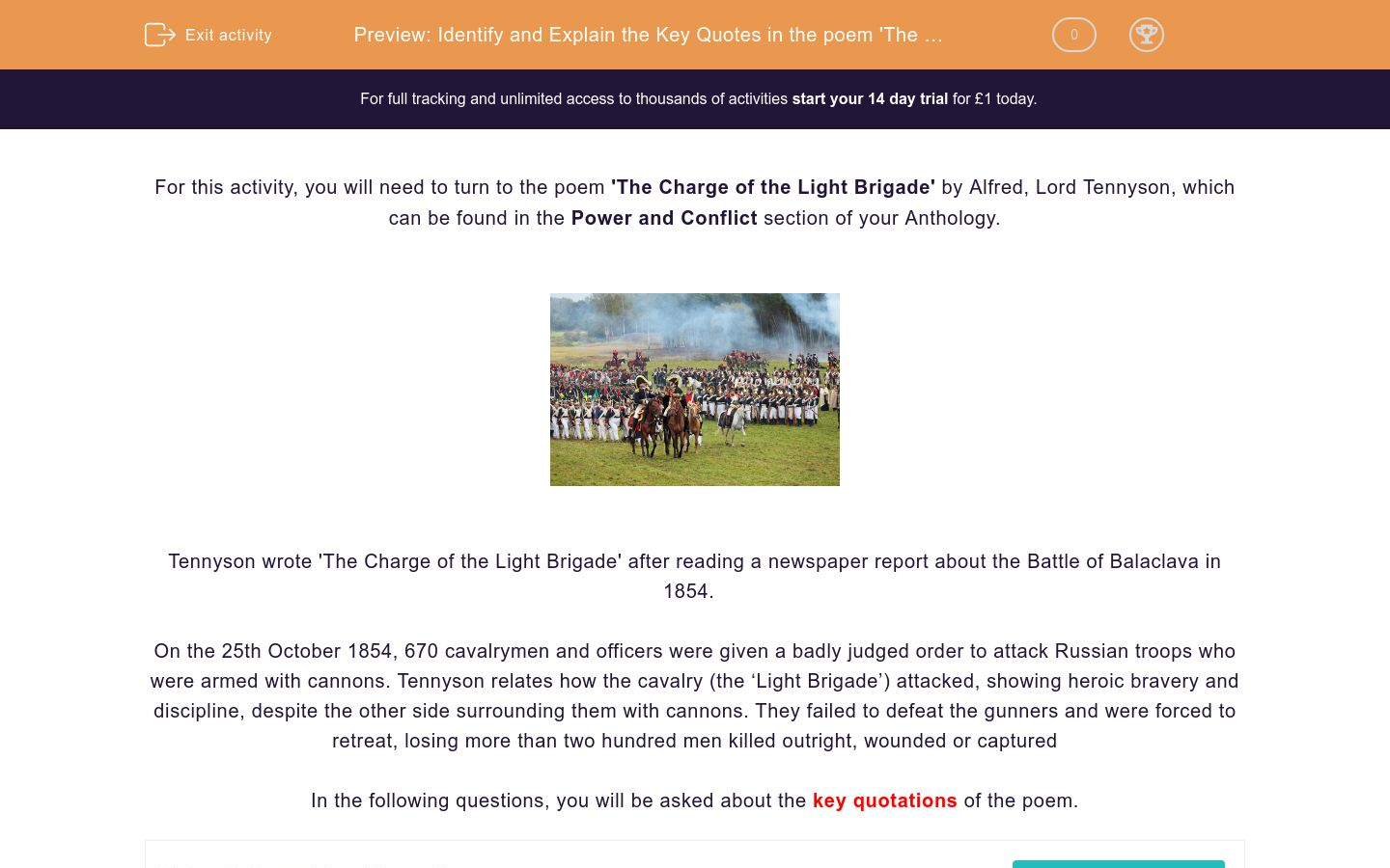 'Identify and Explain the Key Quotes in the poem 'The Charge of the Light Brigade' by Alfred, Lord Tennyson' worksheet