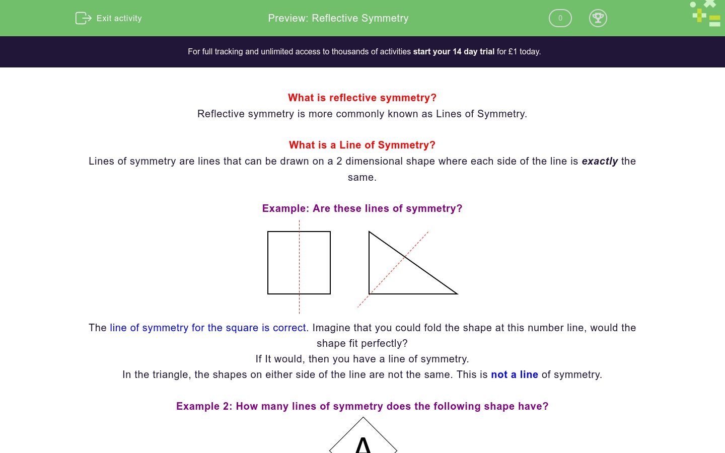 'Identify Reflective Symmetry' worksheet