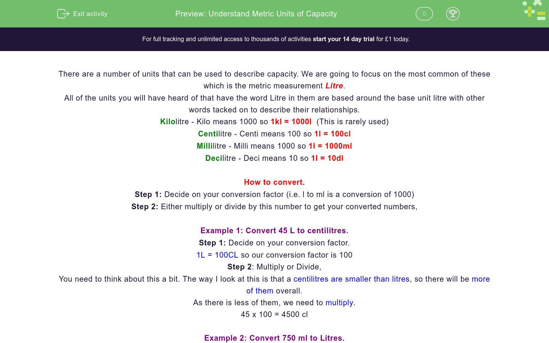 'Understand Metric Units of Capacity' worksheet