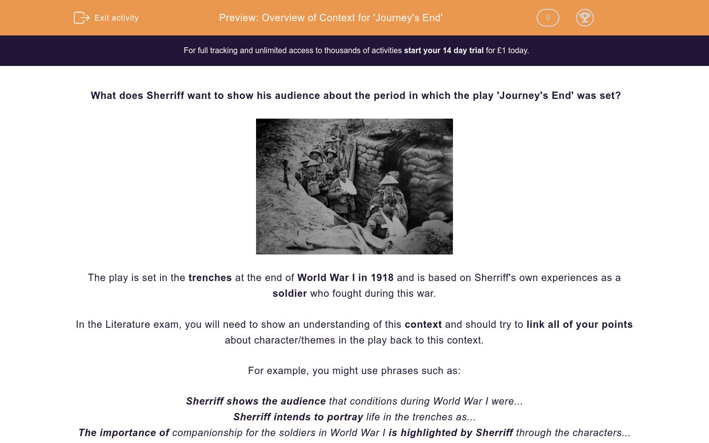 'Overview of Context for 'Journey's End'' worksheet