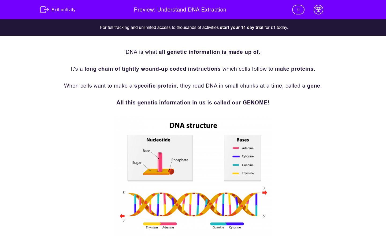 'Understand DNA Extraction' worksheet