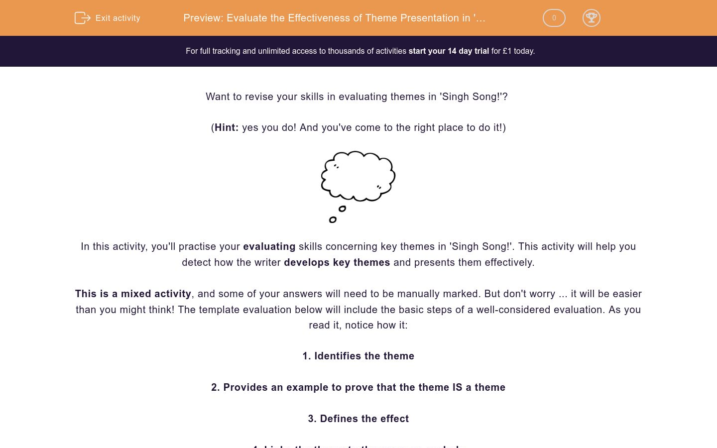 'Evaluate the Effectiveness of Theme Presentation in 'Singh Song!'' worksheet
