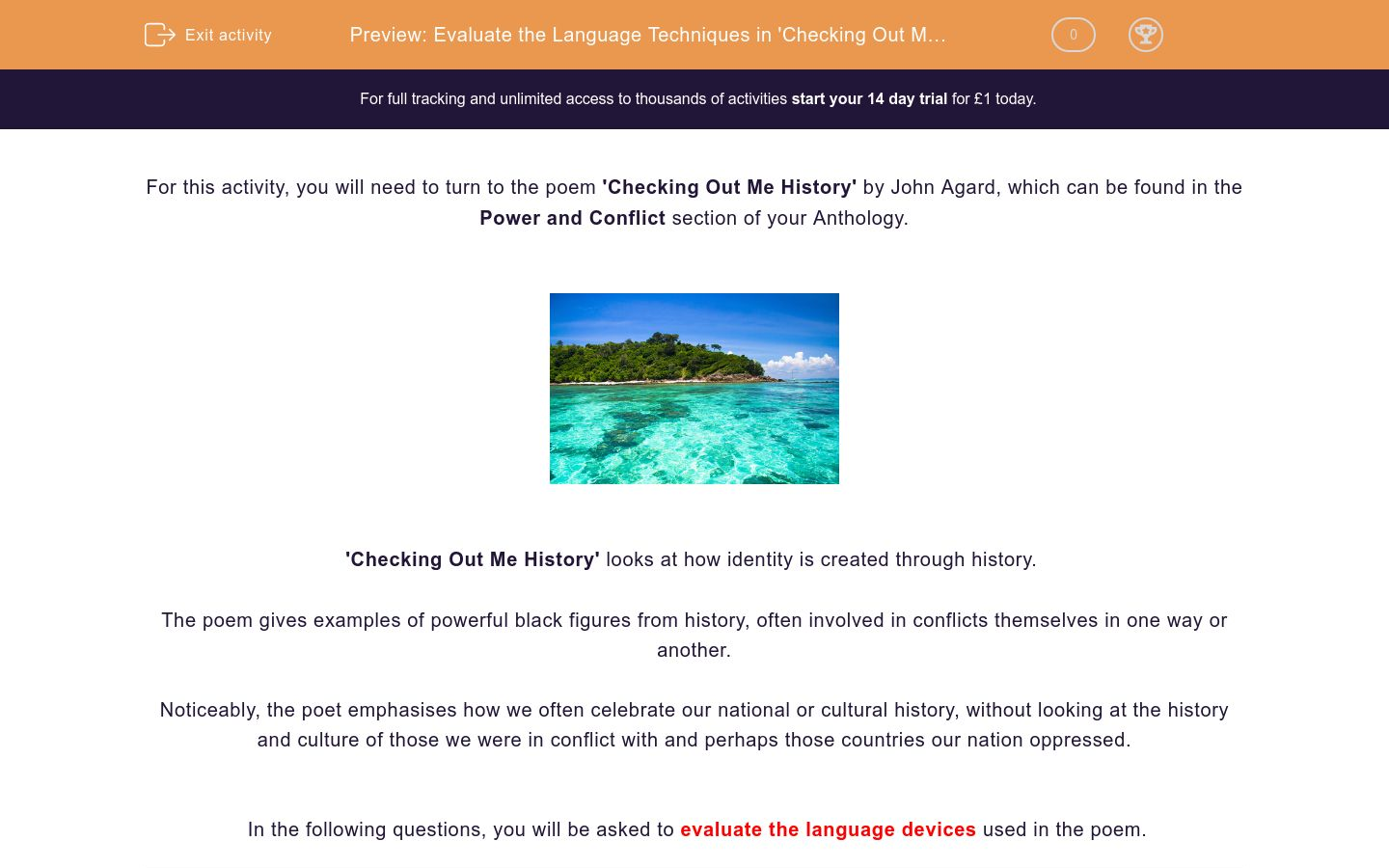 'Evaluate the Language Techniques in 'Checking Out Me History'' worksheet