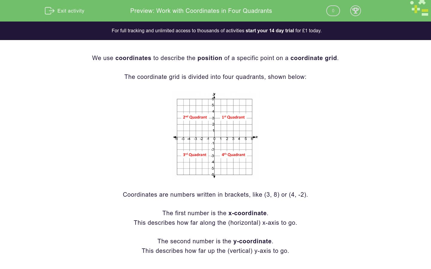 'Work with Coordinates in Four Quadrants' worksheet