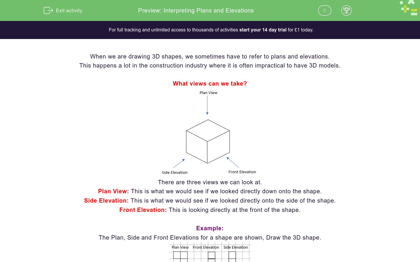 'Interpreting Plans and Elevations' worksheet