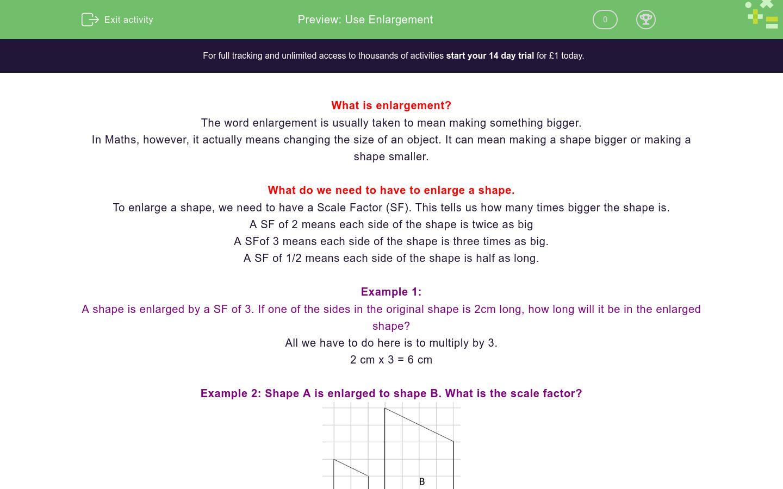 'Enlarge 2D Shapes' worksheet
