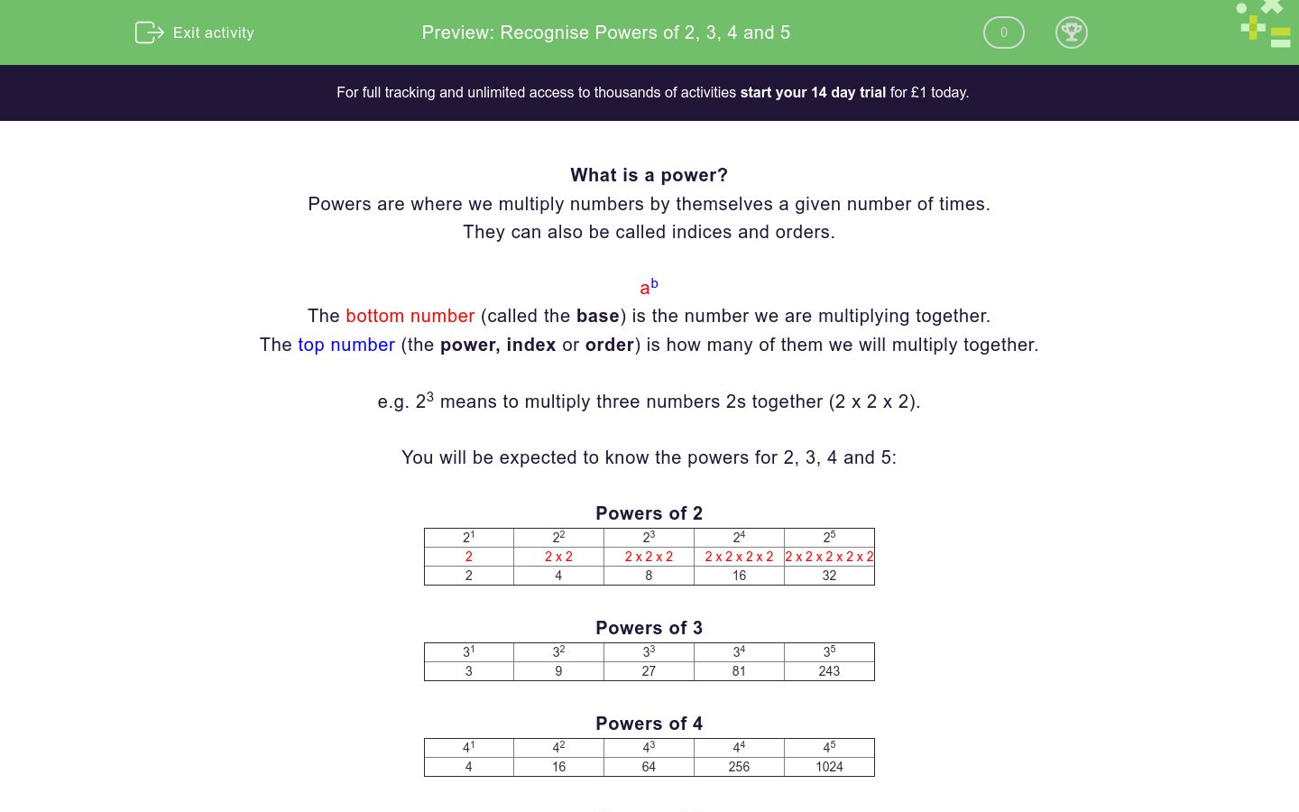 'Recognise Powers of 2, 3, 4 and 5' worksheet