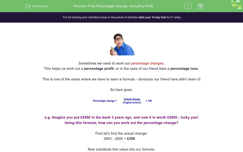 'Find Percentage Change, Including Profit' worksheet