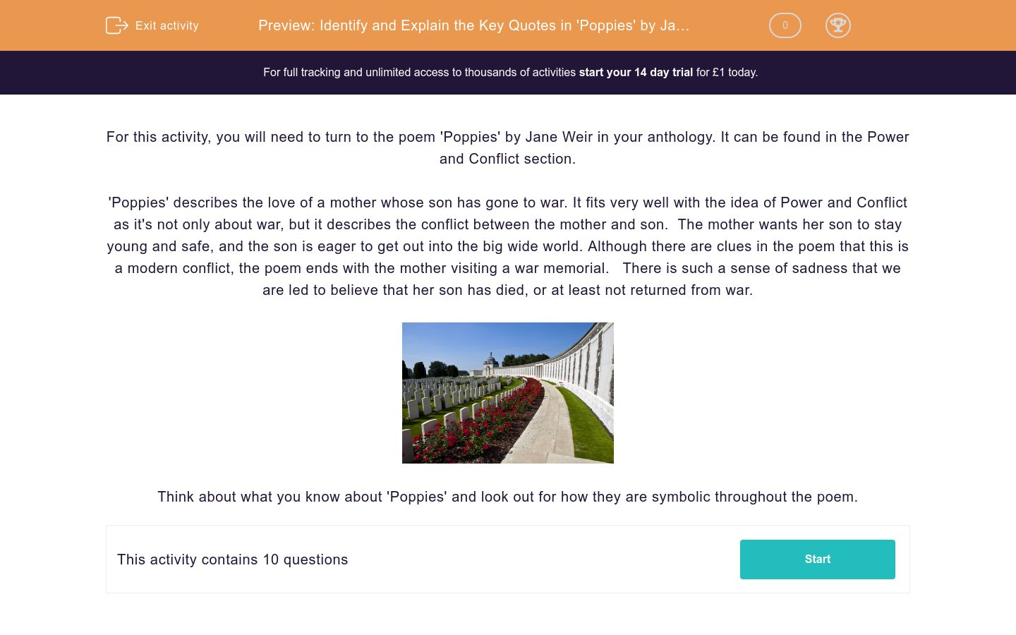'Identify and Explain the Key Quotes in 'Poppies' by Jane Weir' worksheet