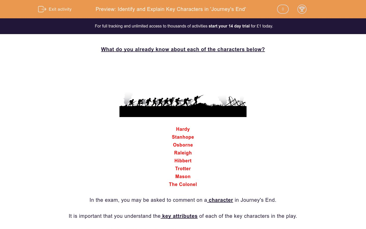 'Identify and Explain Key Characters in 'Journey's End'' worksheet