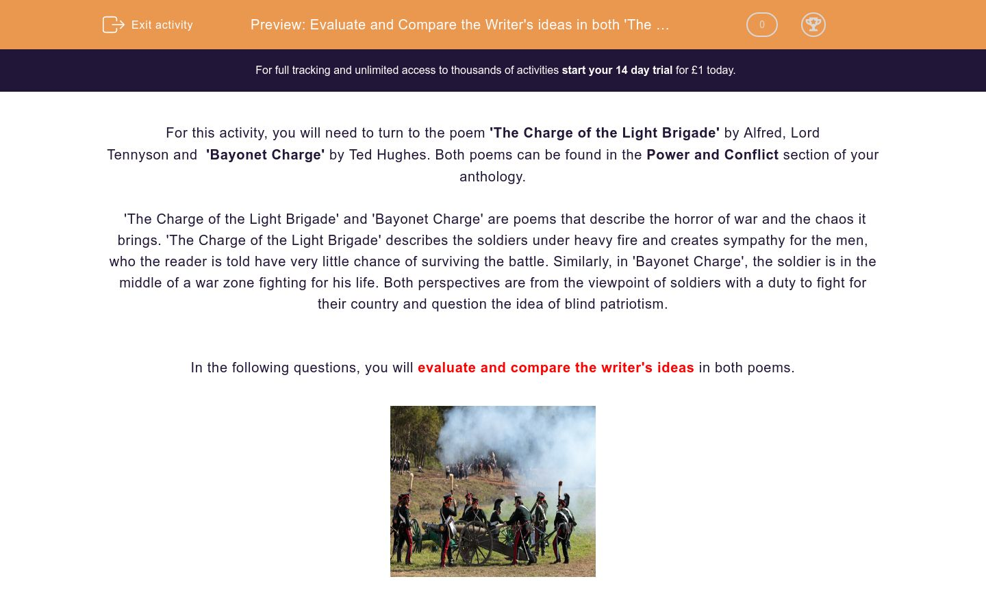 'Evaluate and Compare the Writer's ideas in both 'The Charge of the Light Brigade' by Alfred, Lord Tennyson and 'Bayonet Charge' by Ted Hughes' worksheet
