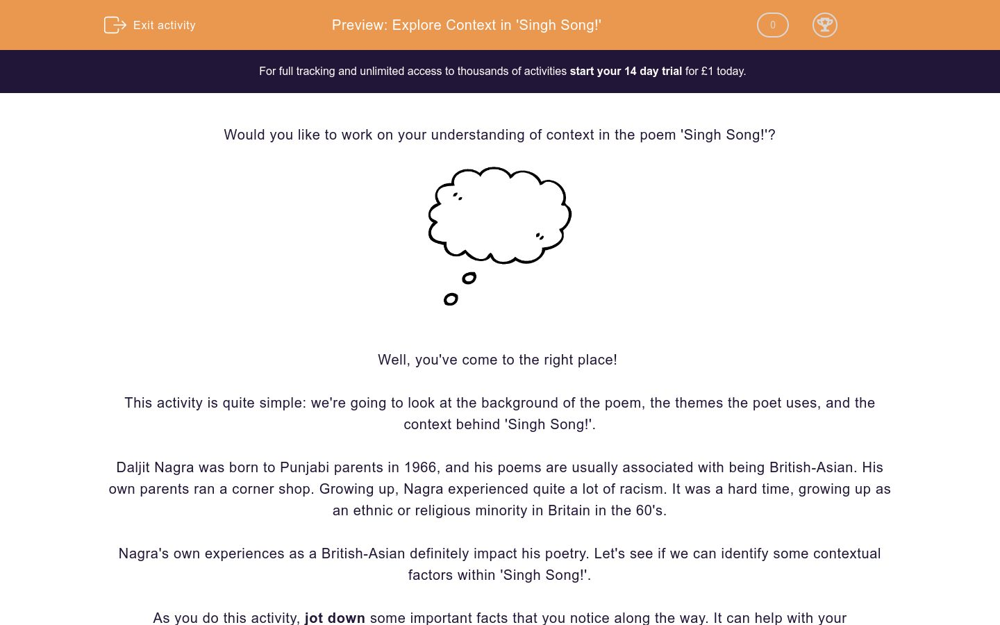 'Explore Context in 'Singh Song!'' worksheet