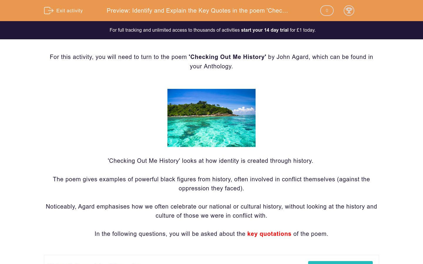'Identify and Explain the Key Quotes in the poem 'Checking Out Me History' by John Agard' worksheet