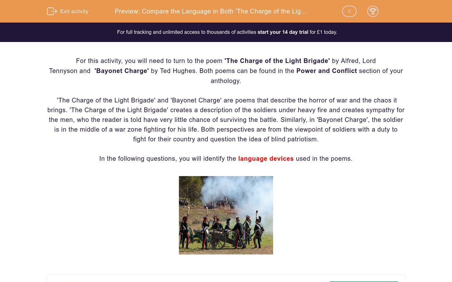'Compare the Language in Both 'The Charge of the Light Brigade' by Alfred Lord Tennyson and 'Bayonet Charge' by Ted Hughes' worksheet
