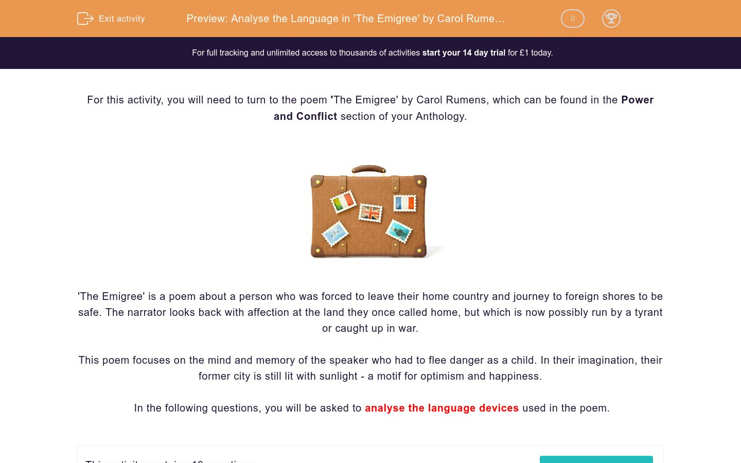 'Analyse the Language in 'The Emigree' by Carol Rumens' worksheet