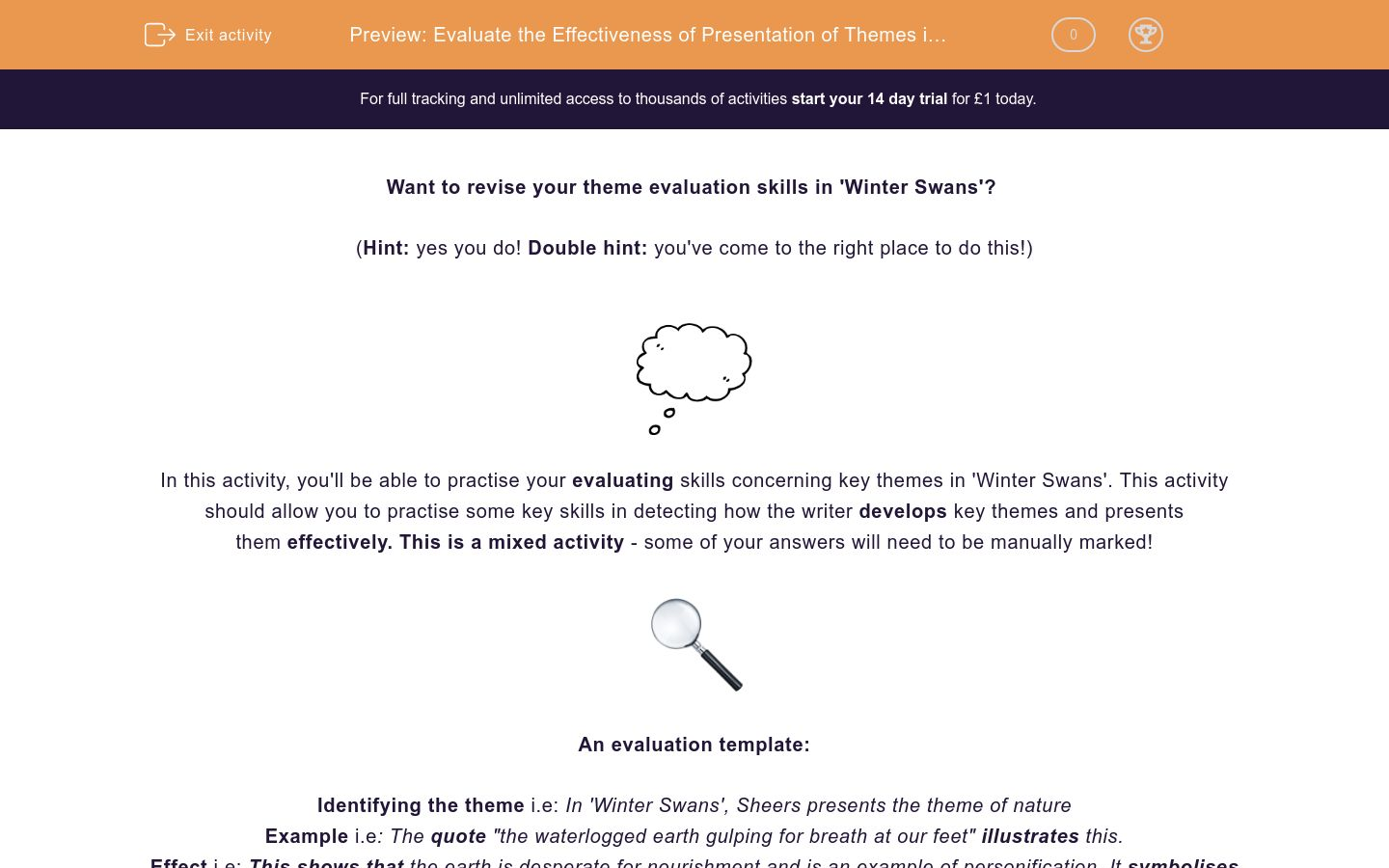'Evaluate the Effectiveness of Presentation of Themes in 'Winter Swans'' worksheet