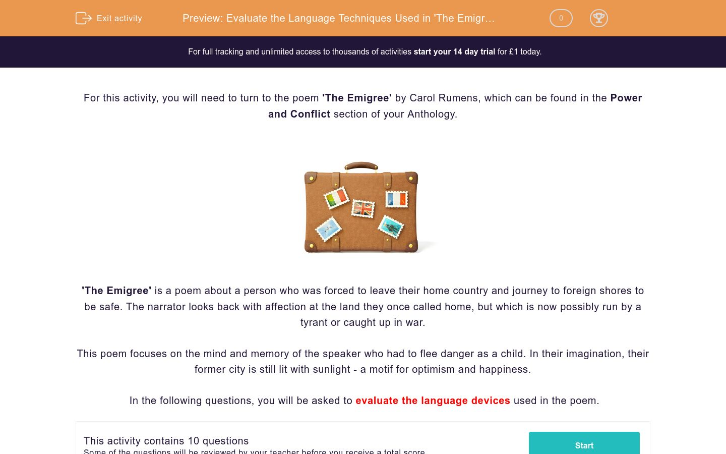 'Evaluate the Language Techniques Used in 'The Emigree' by Carol Rumens' worksheet