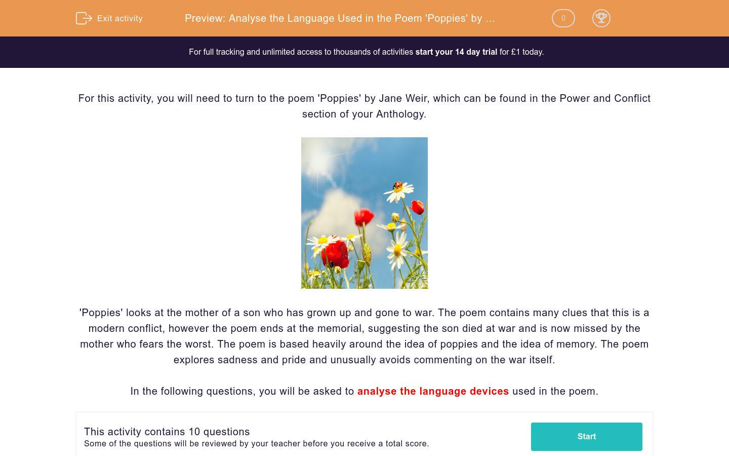'Analyse the Language Used in the Poem 'Poppies' by Jane Weir' worksheet