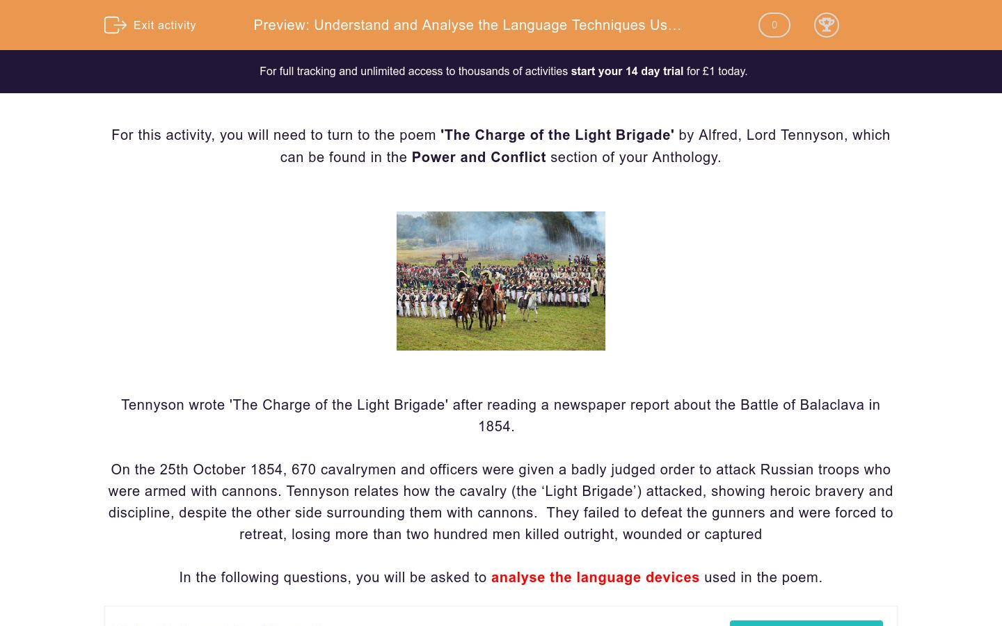 'Understand and Analyse the Language Techniques Used in the Poem 'The Charge of the Light Brigade' by Alfred Lord Tennyson' worksheet