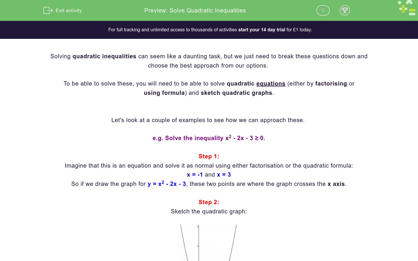 'Solve Quadratic Inequalities' worksheet