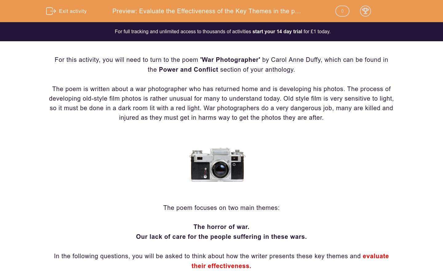 'Evaluate the Effectiveness of the Key Themes in the poem 'War Photographer' by Carol Ann Duffy' worksheet