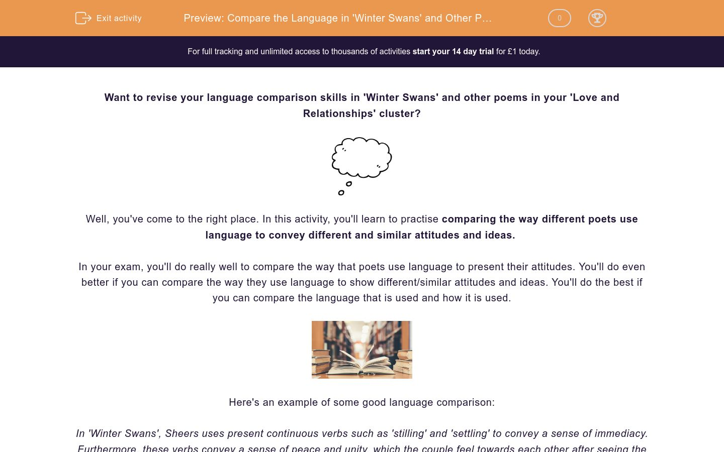 'Compare the Language in 'Winter Swans' and Other Poems' worksheet