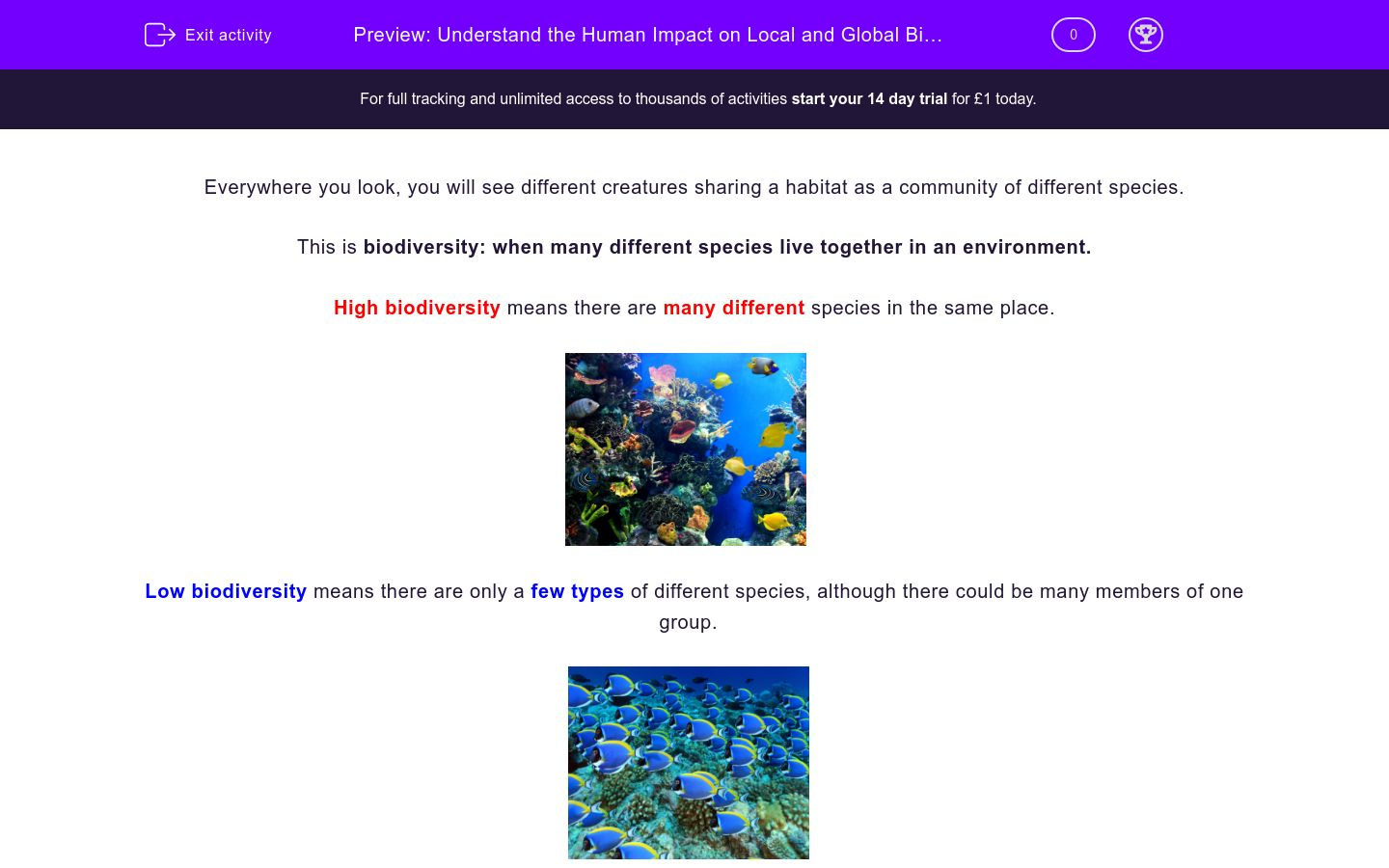 'Understand the Impact of Humans on Biodiversity' worksheet