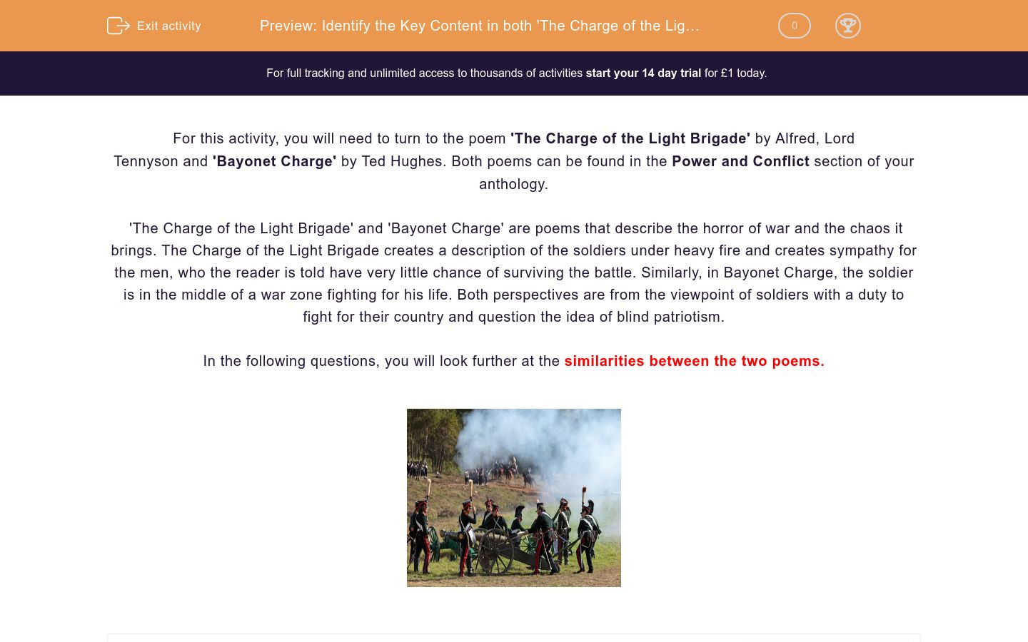 'Identify the Key Content in both 'The Charge of the Light Brigade' and 'Bayonet Charge' and Explain How They Compare' worksheet