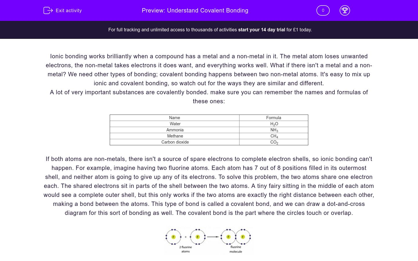 'Understand Covalent Bonding' worksheet