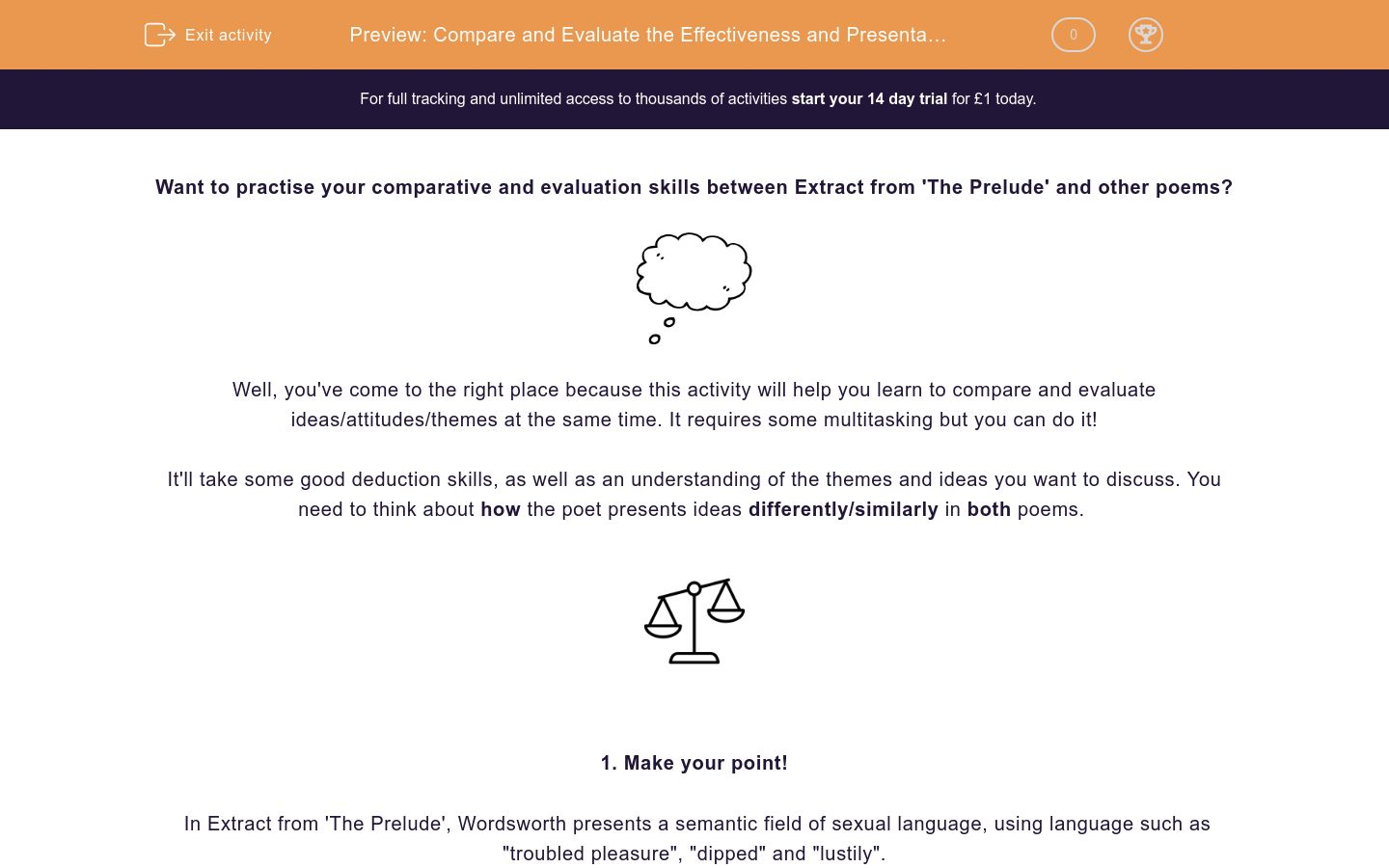 'Compare and Evaluate the Effectiveness and Presentation of Ideas in Extract from 'The Prelude' and other Poems' worksheet