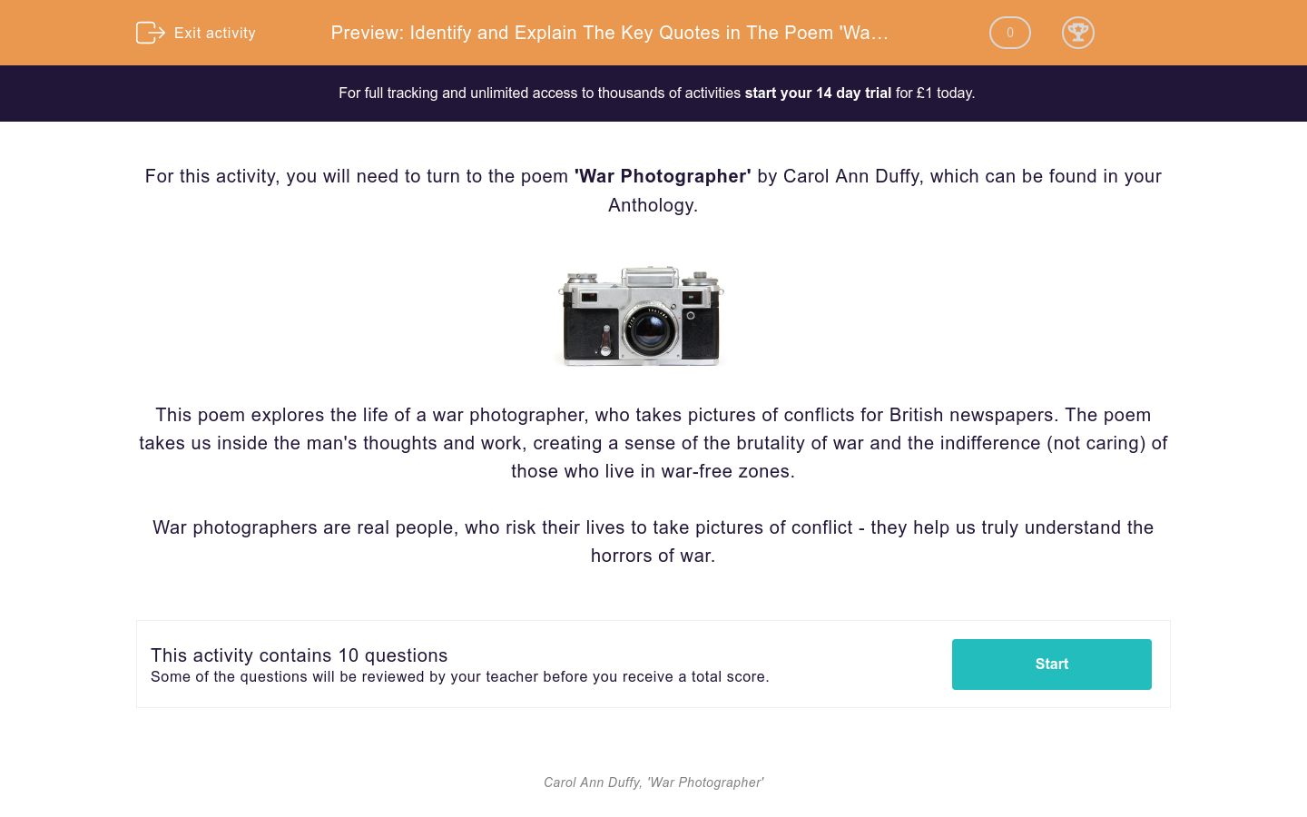 'Identify and Explain The Key Quotes in The Poem 'War Photographer'' worksheet