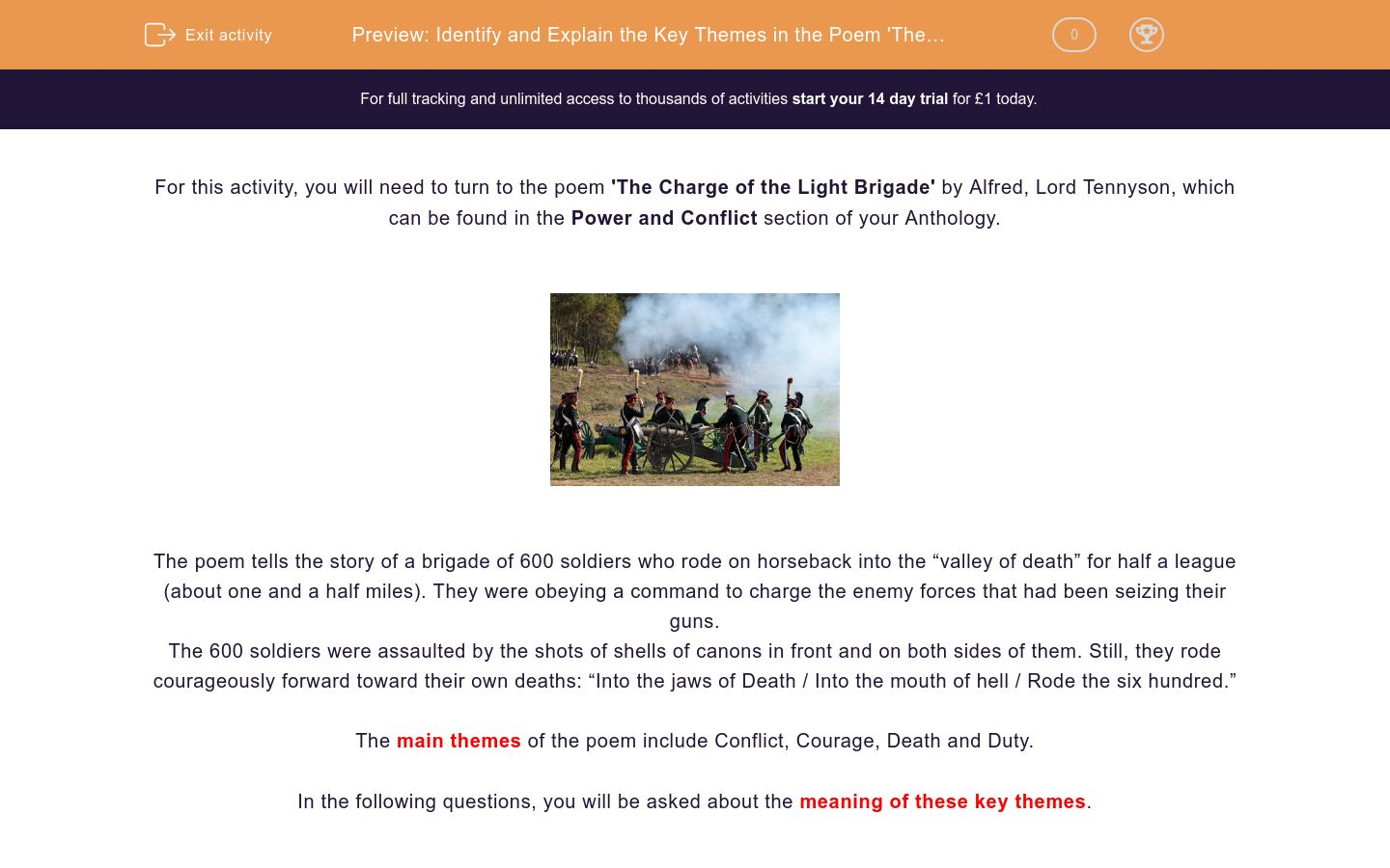 'Identify and Explain the Key Themes in the Poem 'The Charge of the Light Brigade' ' worksheet