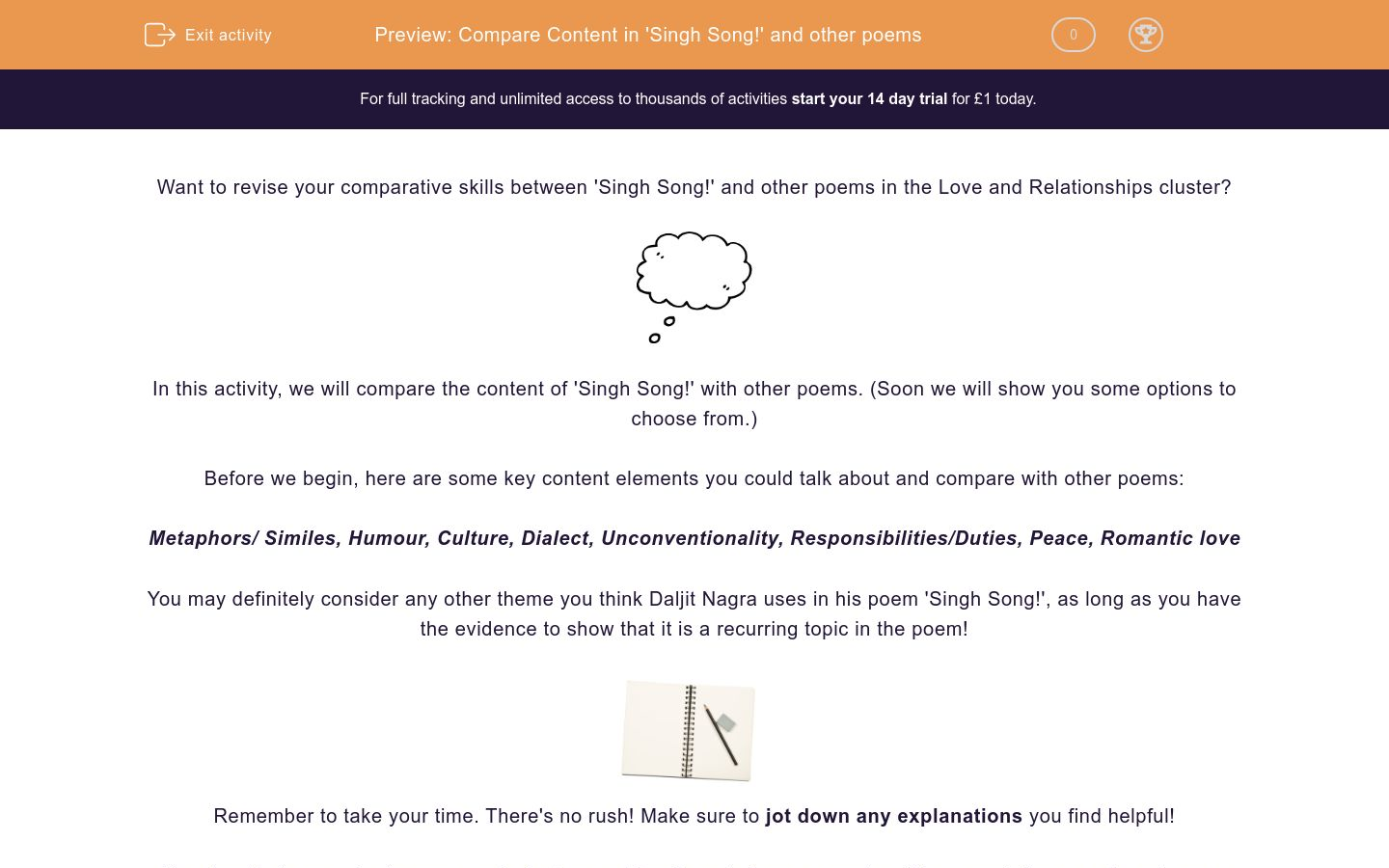 'Compare Content in 'Singh Song!' and other poems' worksheet