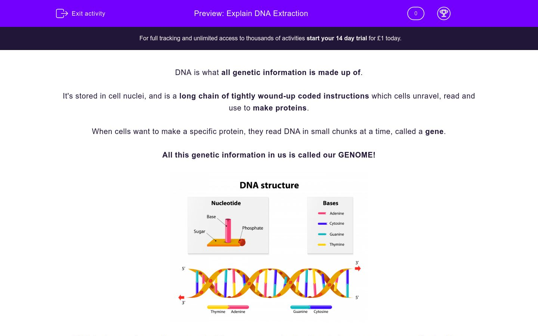 'Explain DNA Extraction' worksheet
