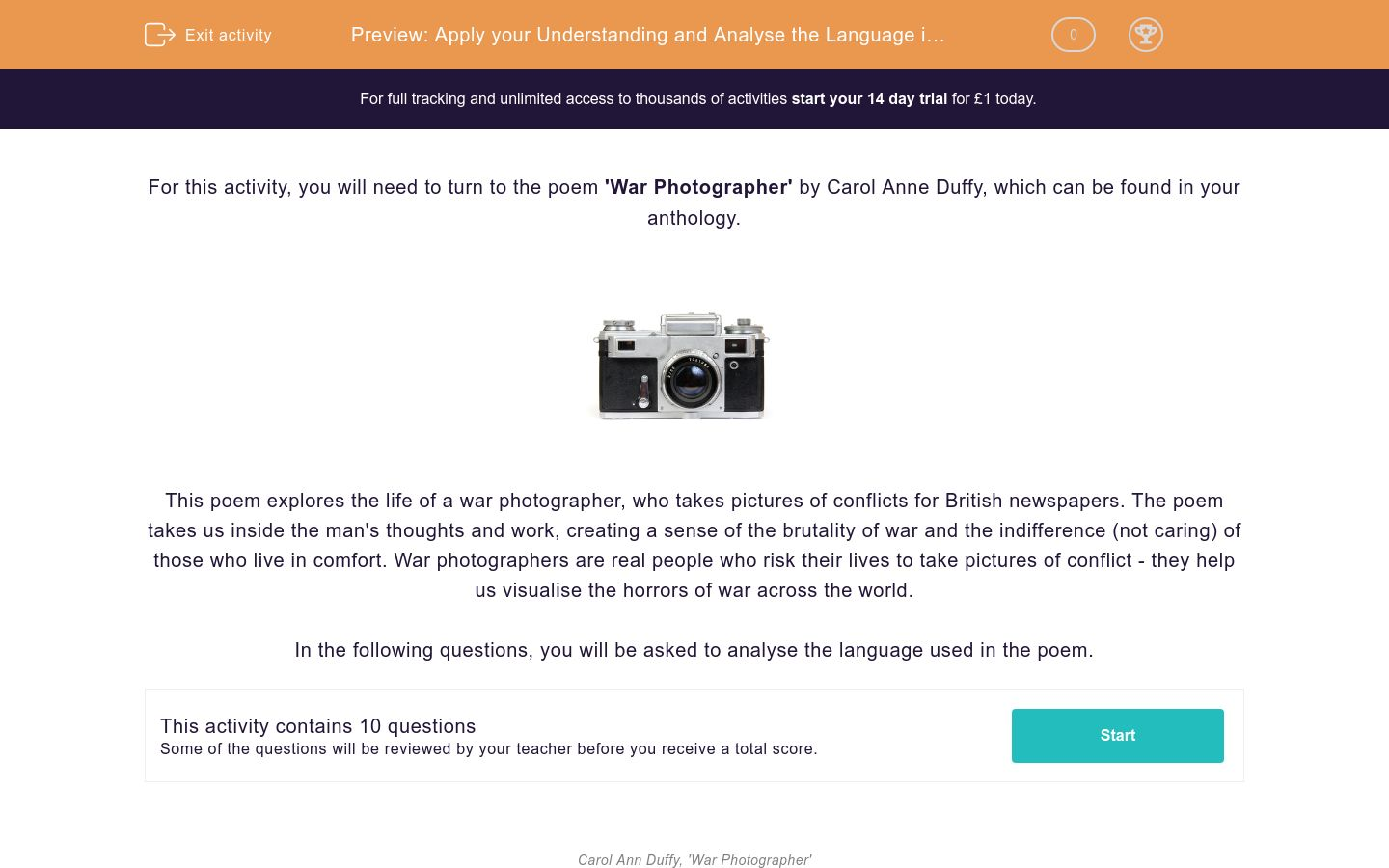 'Apply your Understanding and Analyse the Language in the Poem 'War Photographer'' worksheet