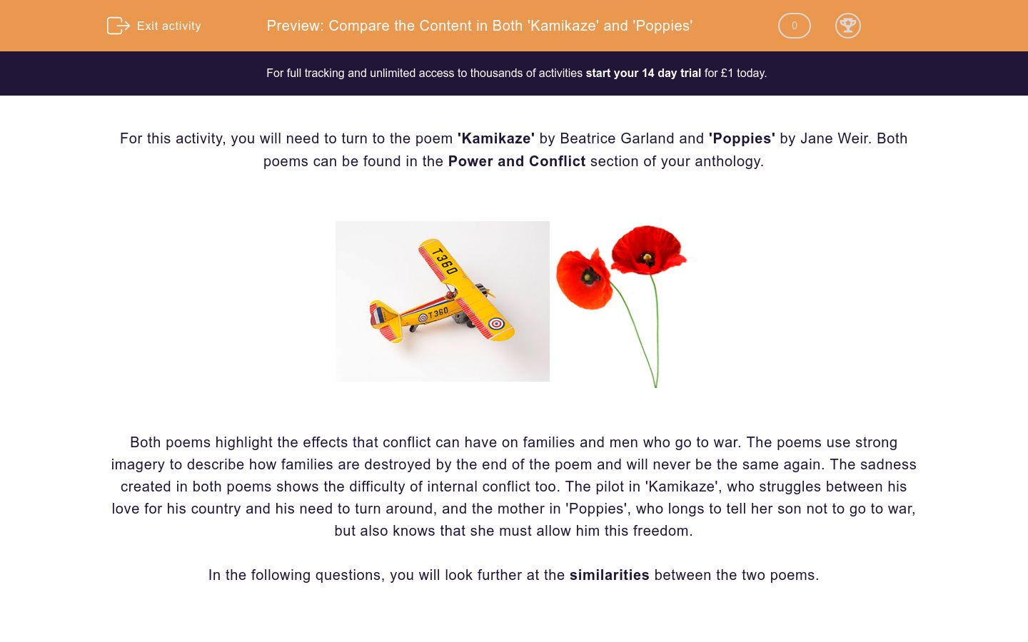 'Compare the Content in Both 'Kamikaze' and 'Poppies'' worksheet