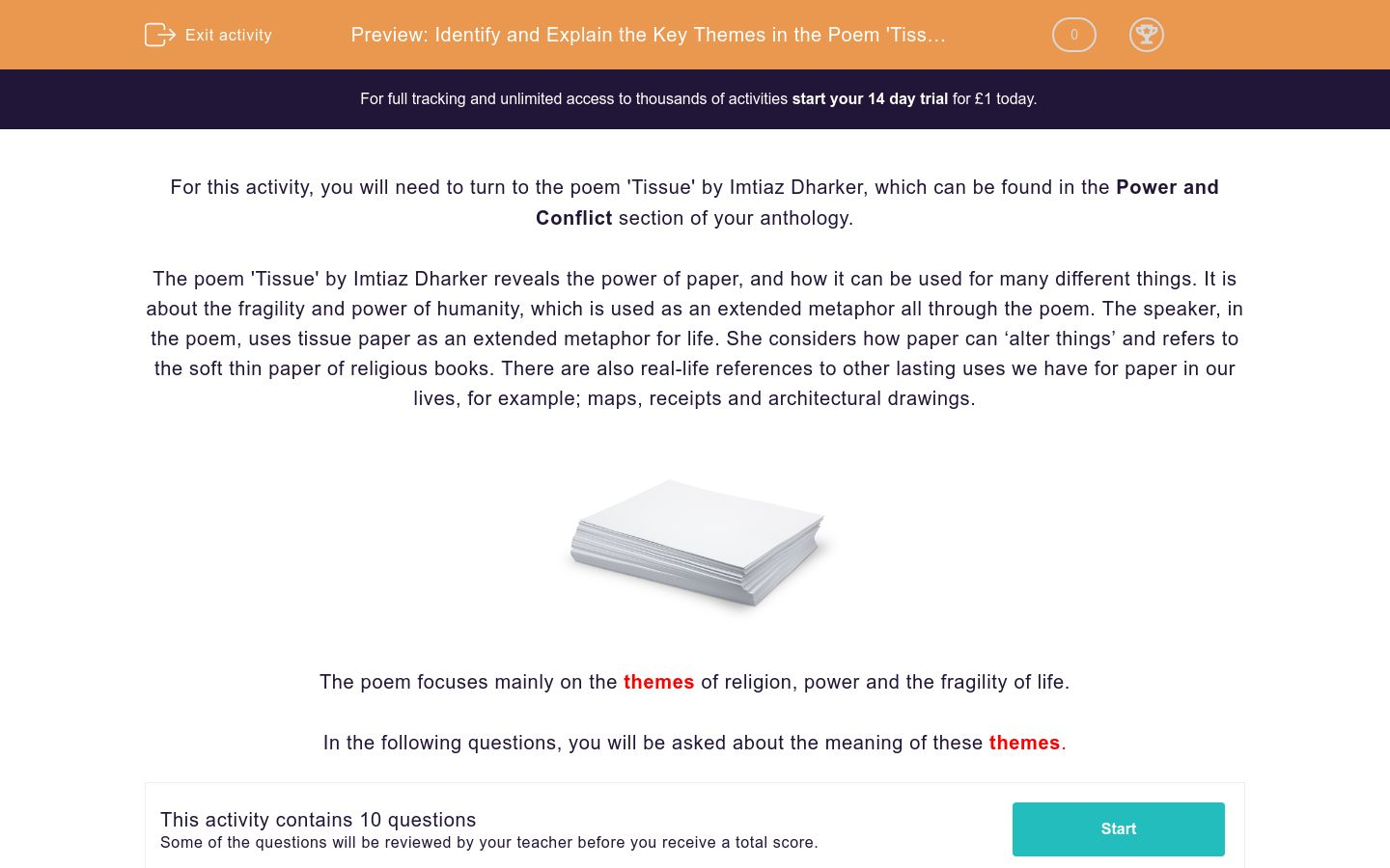 'Identify and Explain the Key Themes in the Poem 'Tissue' by Imtiaz Dharker' worksheet