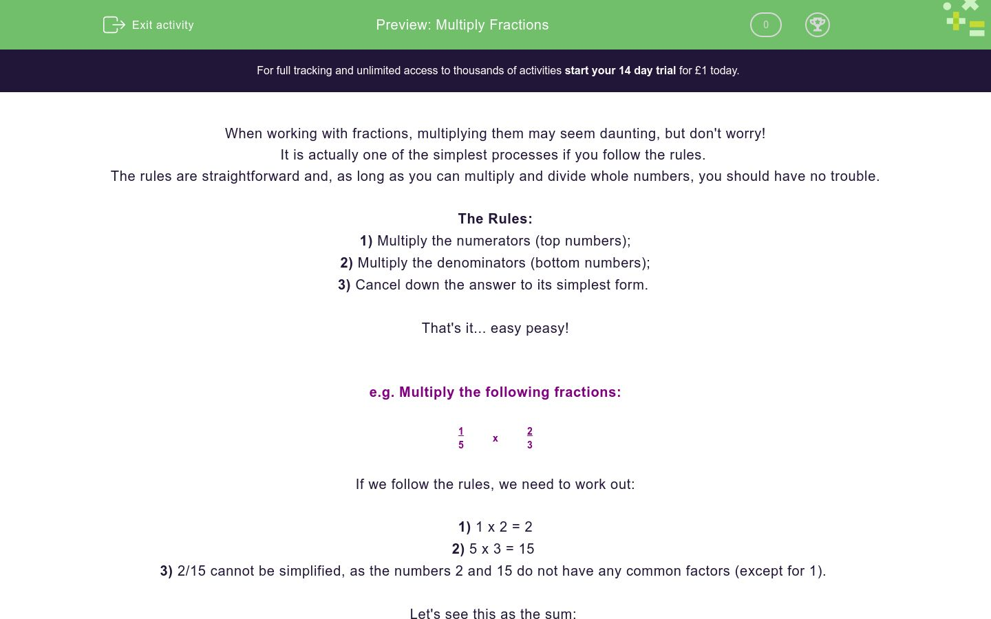 'Multiply Fractions' worksheet